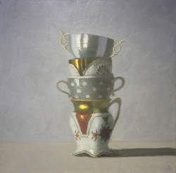 Four Stacked Cups on Grey