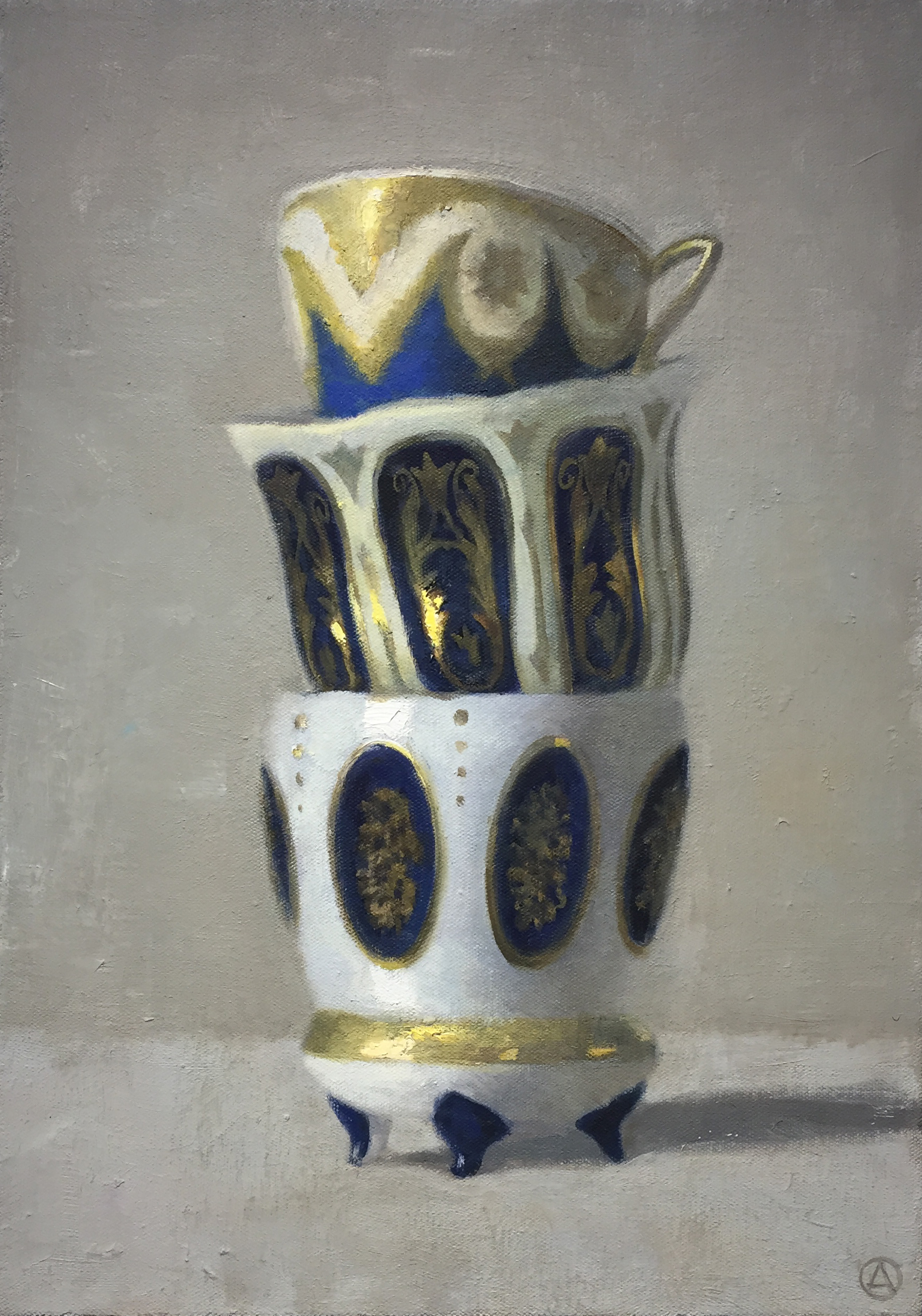Three Stacked Cups, White & Blue