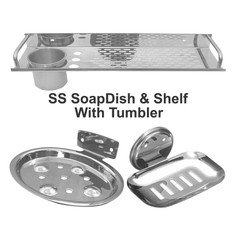 SS SoapDish & Shelf With Tumbler