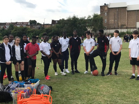 Sports leaders at Lady of Lourdes Catholic Primary sports day