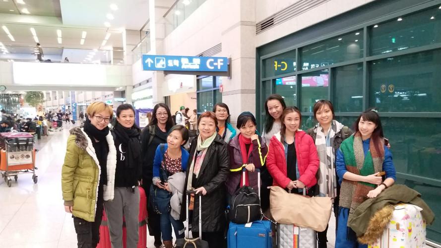 全程一行11人抵韓