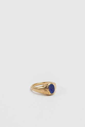 Oval Signet Blue (Gold Plated Silver)