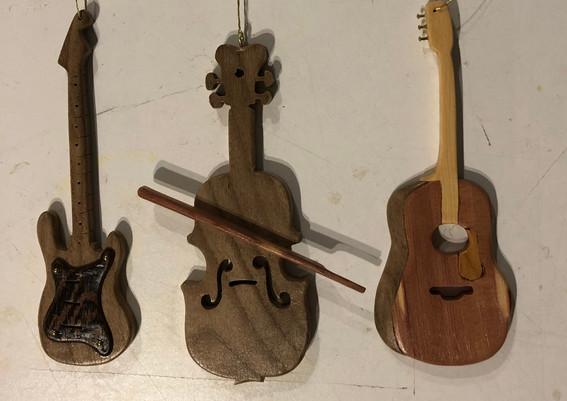 Guitar and Violin tree ornaments