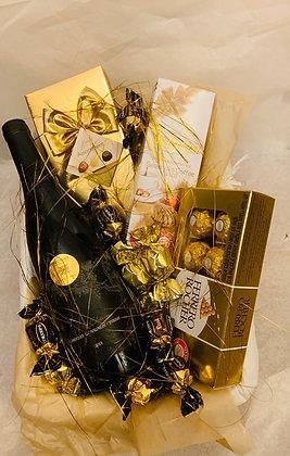 סלסלת זהב יין ושוקולד