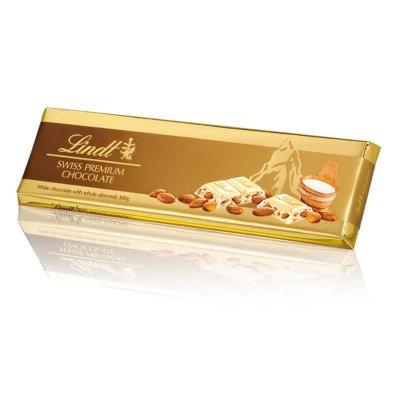 לינדט שוקולד לבן עם שקדים 300 גרם.