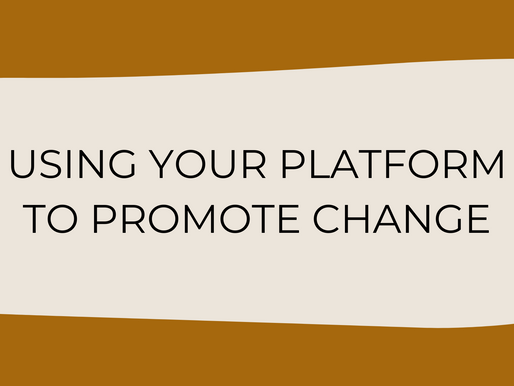 Using Your Platform To Promote Change
