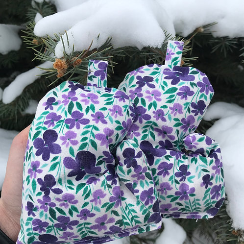 Purple Flower Mitten Bag
