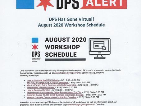 DPS August 2020 Workshop Schedule