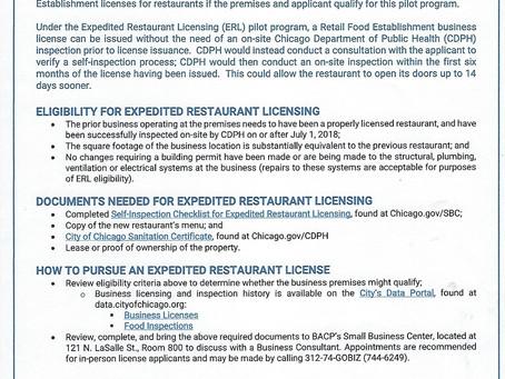 New Expedited Restaurant Licensing Pilot Program