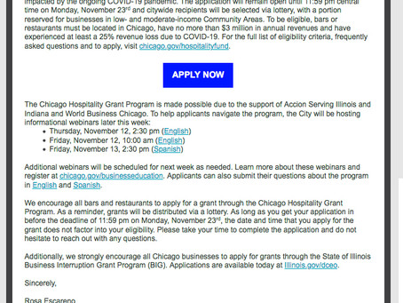 The Chicago Hospitality Grant Program