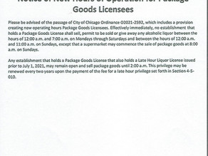 Notice of New Hours of Operation for Package Goods Licensees