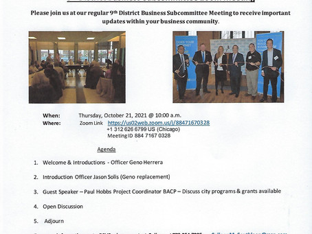 9th District Business Subcommittee Zoom Meeting - Thursday, October 21, 2021