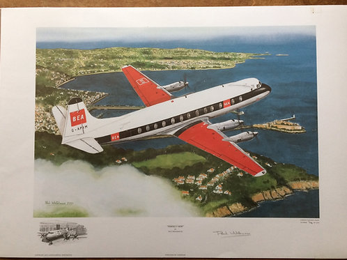 Print depicting Vickers Viscount 806, G-APIM, departing Guernsey, overflying St. Peter Port in 1969