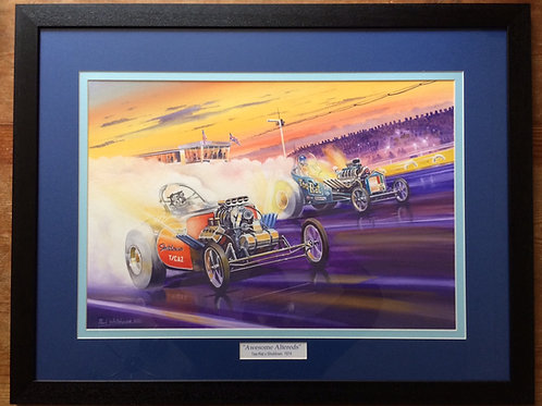Framed Original Gouache Painting depicting Tee-Rat Vs. Shutdown at Santa Pod, 1974