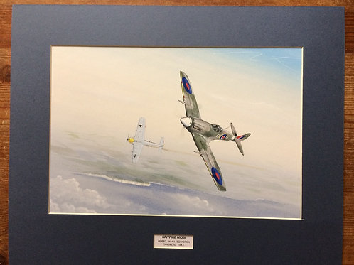 Mounted Original Gouache Painting depicting Spitfire Mk.XII, MB882, from number 41 Squadron, Tangmere 1943