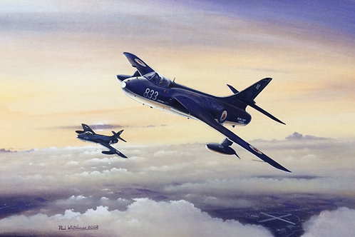 Un-framed Original Gouache Painting depicting Hawker Hunter GA.11, WW654, now residing as the Gate Guard at the former Navy A