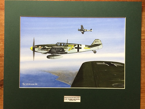 Mounted Original Gouache Painting depicting JG51 'Molders operating in Sardinia in 1943