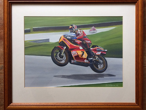 Framed Original Gouache Painting depicitng Barry Sheene riding the Suzuki RG500 at Cadwell Park
