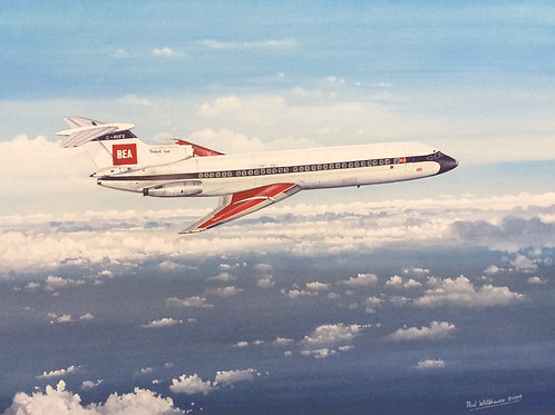 Un-framed Original Gouache Painting depicting H.S 121 Trident 2E, G-AVFB, now on show at Duxford Museum