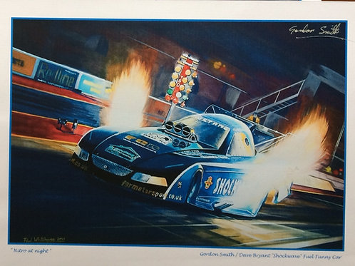 Print depicting Gordon Smith in the 'Shockwave' Top Fuel Funny Car at Santa Pod. Signed by Gordon Smith