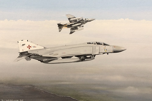 Un-framed Original Gouache Painting depicting Phantom FGR2's operating in the Falklands