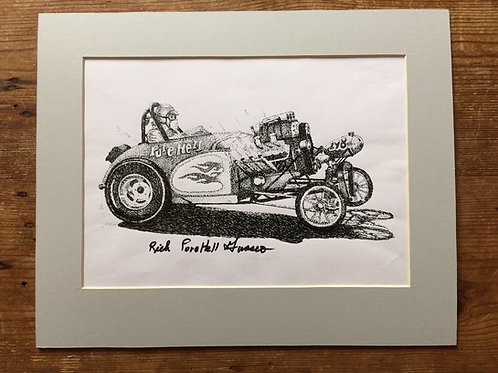 Mounted Original Ink Pointerlism of the Pure Hell Fuel Altered driven by Dale Emery. Signed by Rich Guasco