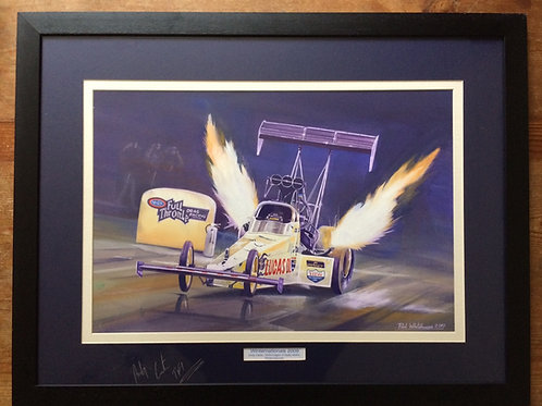 Framed Original Gouache Painting depicting Andy Carter at the Kragen O'Reilly NHRA Winternationals 2009 signed by Andy Carter