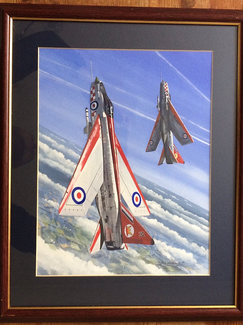 Framed Original Gouache Painting depicting Lightning F1A's of 56 Squadron the Firebirds Aerobatic Team, 1962
