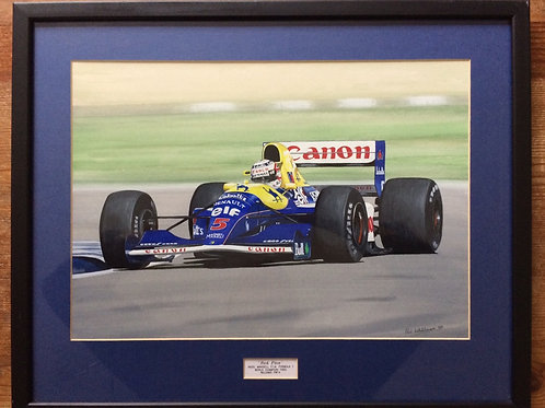 Framed Original Gouache Painting of Nigel Mansell in the Williams FW14, 1992