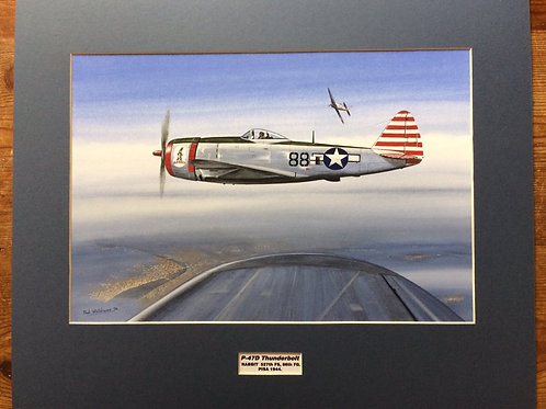 Mounted Original Gouache Painting depicting P-47D Thunderbolt 'Rabbit' operating in Pisa, 1944