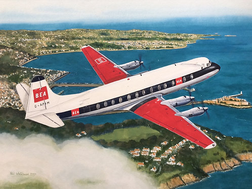 Un-framed Original Gouache Painting depicting Vickers Viscount 806, G-APIM, departing Guernsey, overflying St. Peter Port in