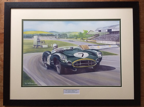 Framed Original Gouache Painting depicting the Aston Martin DBR1 of Sterling Moss and Tony Brooks at the 1958 Tourist Trophy