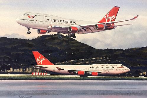 Un-framed Original Gouache Painting depicting Virgin Atlantic 747