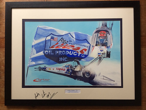 Framed Original Gouache Painting depicting Andy Carter in the Lucas Oils Top Fuel Championship Winning Dragster 2009