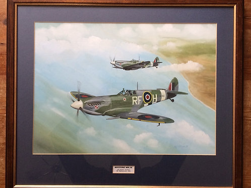Framed Original Gouache Painting depicting 303 (Polish) Squadron Spitfire Mk.IX's operating from RAF Westhampnett (now Goodwo
