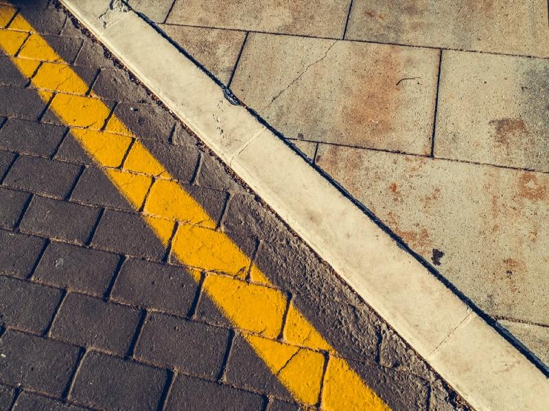 Boundary between road and sidewalk