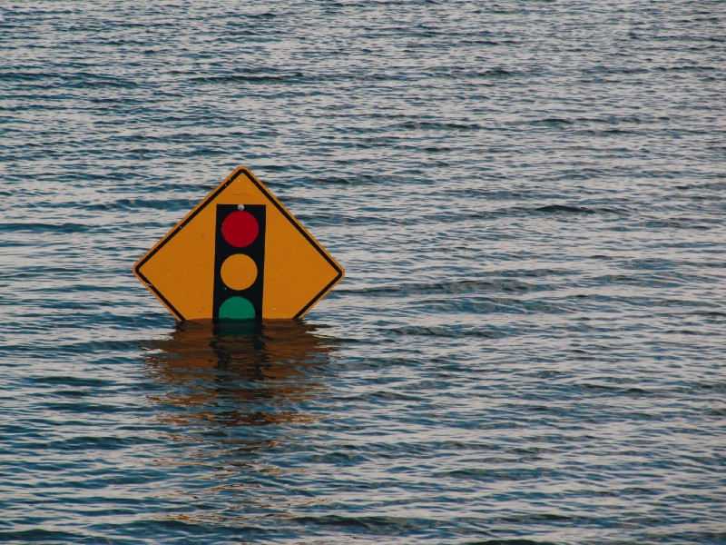 Drowning traffic sign