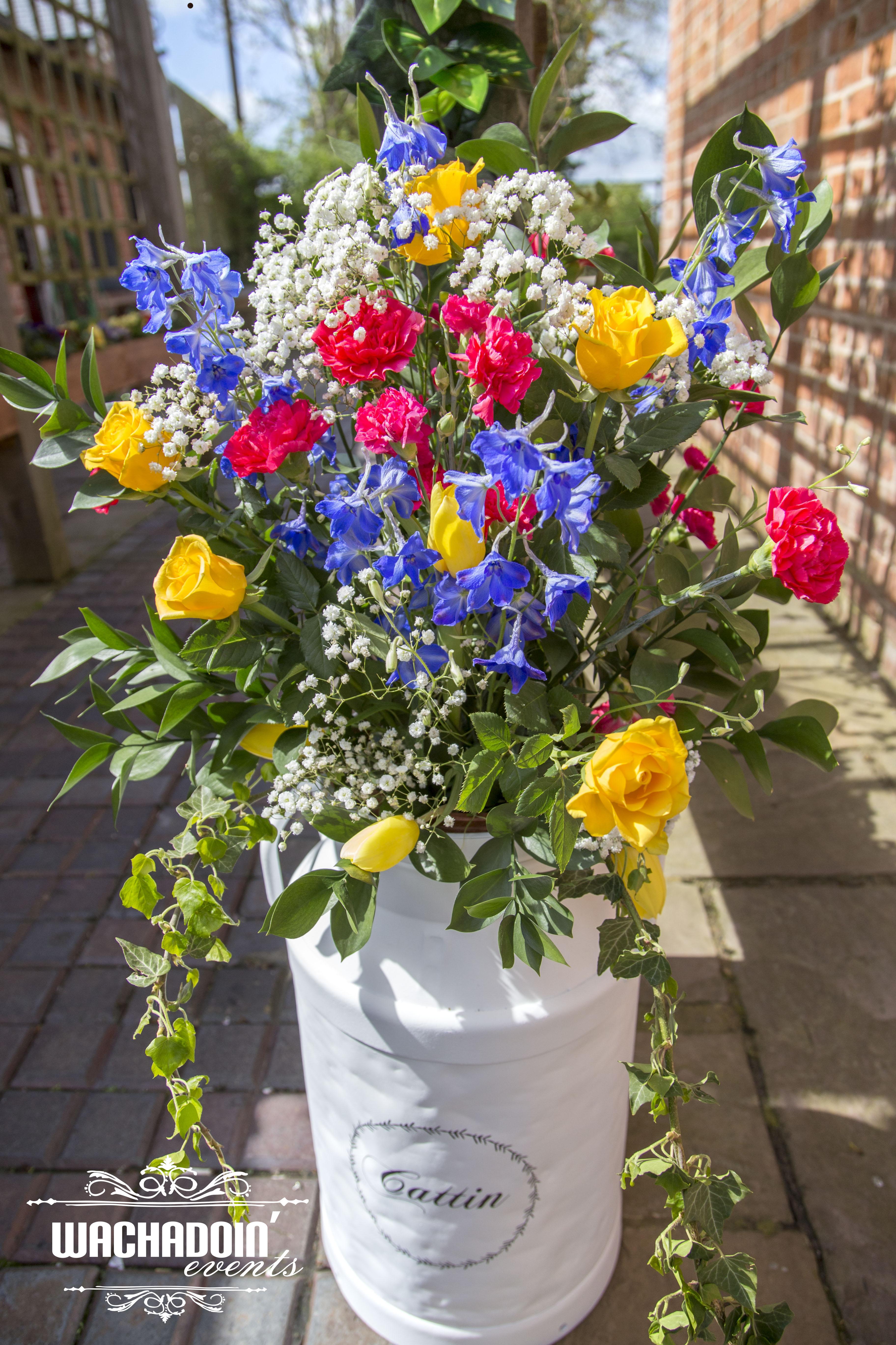 springtime florals milk churn