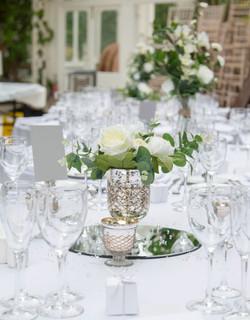 elegant table centre white florals
