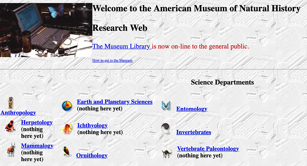 The Home Page of the American Museum of Natural History in the 1990s