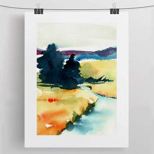 ALONG THE RIVER / watercolour 30x40cm