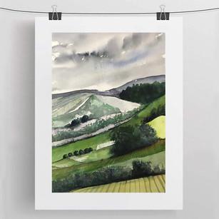 DOWNHILL / watercolour 50x70cm