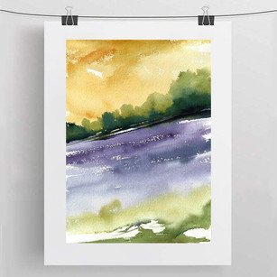 BLUEBELL FIELD / watercolour 30x40cm