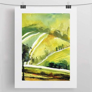 YELLOW FIELDS / watercolour and ink 30x40 cm