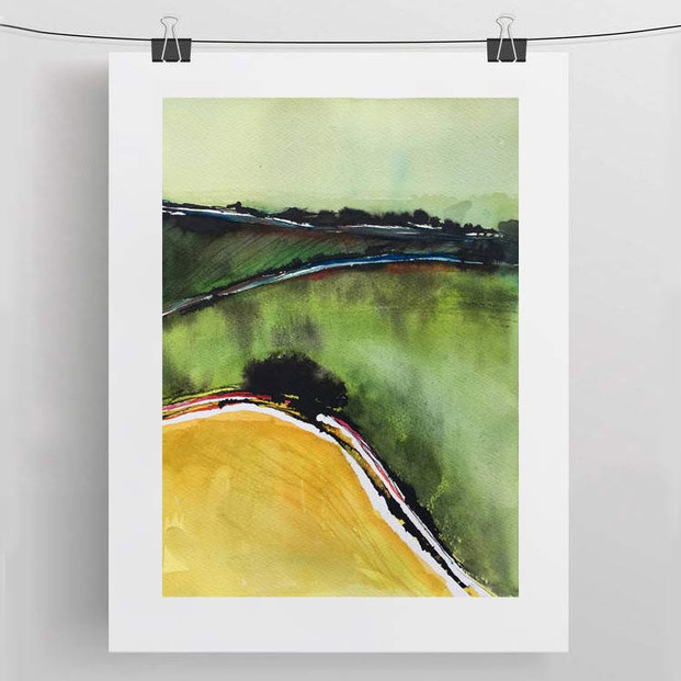 DORSET FIELDS / watercolour and ink 30x40 cm