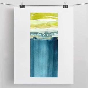 THE CLIFF / watercolour 15x35cm