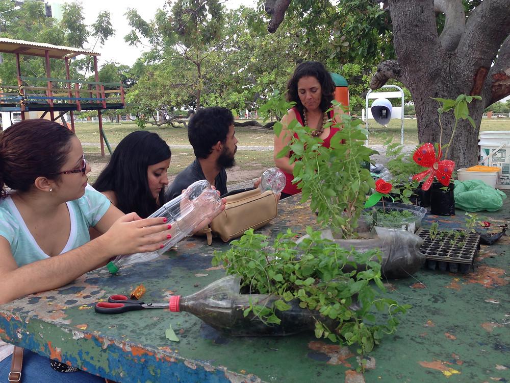 Christian Nogueria ensinando a fazer hortas