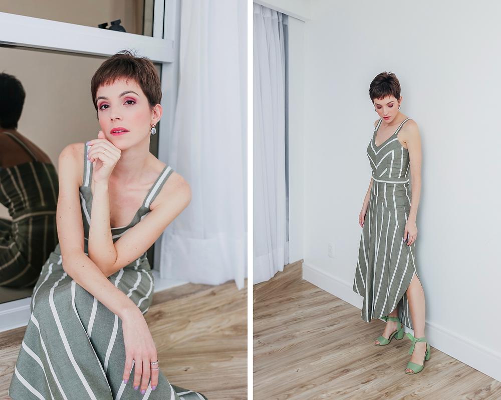 Dani Lachter de vestido verde com listras brancas