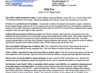 Milli Fire Update 08-28-17