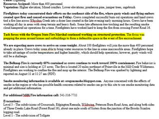 Milli Fire / Bellnap Fire Update 8-20-17